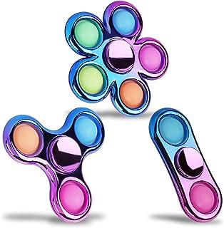 FIGROL Pop Simple Fidget Spinner 3 Pack, Push Bubble Metal-Looking Fidget Spinners, Pop Bubble Rainbow Fidget Toys Spinner...