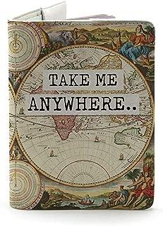 Wanderlust Collection - Funda para pasaporte (piel), Llévame a cualquier lugar (ambos lados impresos) – colorido., Mediano