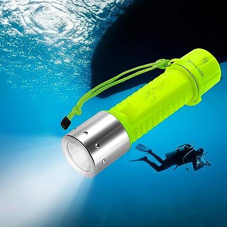 TR Turn Raise Linterna de Buceo, Antorcha de Submarinismo Super Brillante XM-L2 LED Luz de Inmersión Submarina Impermeable para Acampar Policía Emergencia Senderismo Viaje