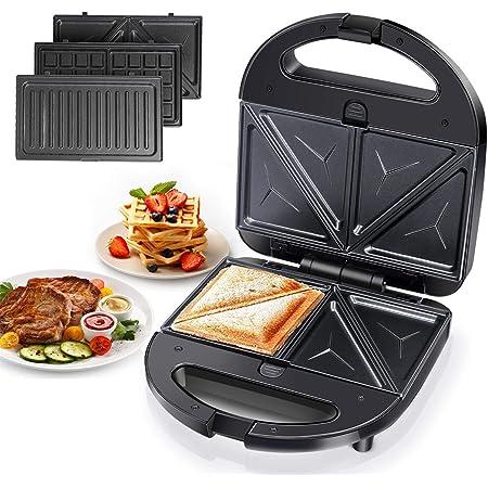Aigostar Robin – Appareil à Croque Monsieur 3 en 1 : Gaufrier, Sandwich et grill. Grande Puissance de 750 watts, 3 plaques antiadhésives amovibles, poignée toujours froide.