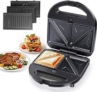Aigostar Robin 30OGQ - Sandwichera 3 en 1: grill, gofres y sandwichera. 750W, placas antiadherentes extraíbles, termostato...