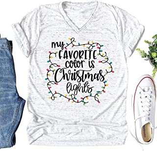 MNLYBABY My Favorite Color is Christmas Lights T-Shirt Women Xmas Costume Short Sleeve Letters Print Casual Tops Tees