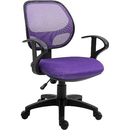 IDIMEX Chaise de Bureau pour Enfant Cool Fauteuil pivotant et Ergonomique avec accoudoirs et Dossier ventilé, siège à roulettes avec Hauteur réglable, revêtement Mesh Violet