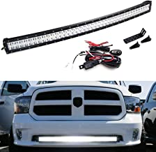 iJDMTOY Lower Grille Mount 40-Inch LED Light Bar Kit For 2009-up Dodge RAM 1500 Express w/Sport Bumper, Includes 240W Curved LED Lightbar, Lower Bumper Opening Mounting Brackets & Switch Wiring Kit