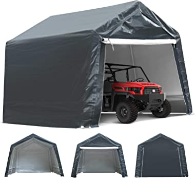 TOOCA 10x10x8.7 Ft Portable Garage Tent Kit Portable Shed Outdoor Carport Canopy Storage Shelter Shed with Detachable Roll-up