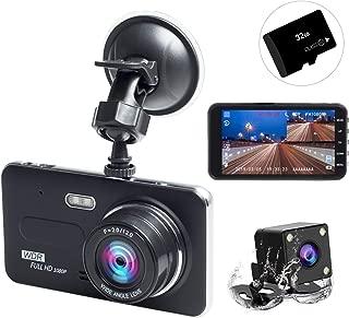 ドライブレコーダー 前後カメラ 2019最新版 32GB SDカード付き 1080PフルHD 1800万画素 LEDライト付き 4インチ 170°広視野角 SONYセンサー/レンズ 常時録画 G-sensor( WDR)