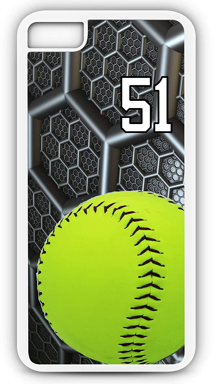 iPhone 6s Case Softball S038Z Choice of Any Personalized Name or Number Tough Phone Case by TYD Designs in White Plastic and Black Rubber with Team Jersey Number 51
