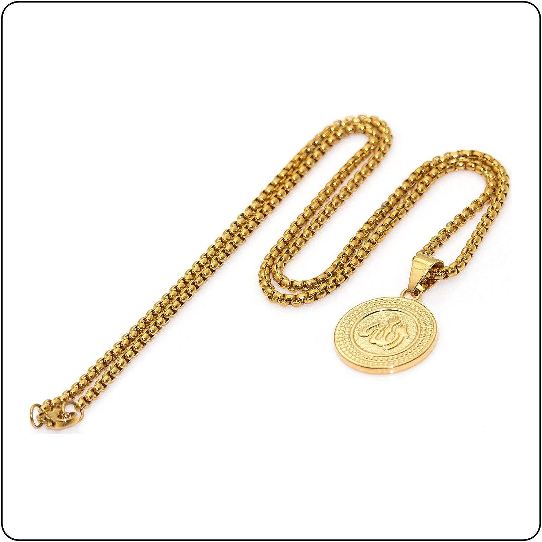 Fusamk Hip Hop Religious 18K Alloy Allah Medallion Tag Pendant Symbol Charm Necklace