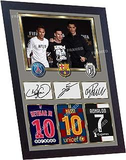 S&E DESING Neymar Messi Cristiano Ronaldo Juventus Signed Autograph Print Photo Framed