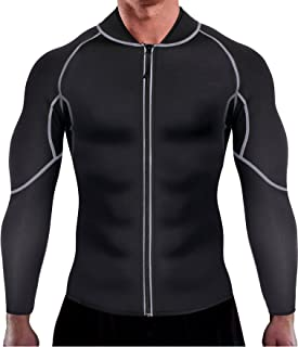 Ursexyly Men Exercise Sweat Hot Dress Shirt Sauna Suit Neoprene Slimming Fitness Jacket Gym Wear for Core Muscle Training Sauna Suits