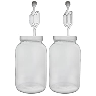 FastRack One gallon Wide Mouth Jar with Drilled Lid & Twin Bubble Airlock-Set of 2, multicolor (B01AKB4G9E)
