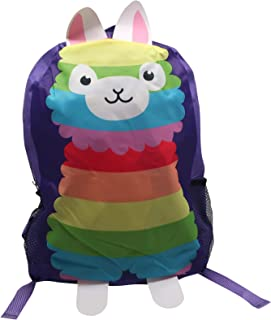 Cute Backpack for Girls, Bookbag for Kindergarten, Elementary, Mermaid School Supplies, Multicolored Llama Bag, Adjustable Padded Straps, Zipper, for Travel, Day Trips, Sports