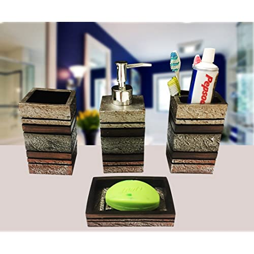 Sterling SMS-293 Natural Stone Finish Polyresign 4 Pieces Bathroom Set-Liquid Soap Dispenser, Toothbrush Holder, Tumbler & Soap Dish Holder