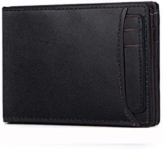 Genuine Leather Slim Bifold Wallet For Men with Extra Capacity RFID Blocking Credit Card Soft Leather Wallet (Black)