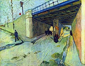 """Railway bridge on the road to Tarascon by Van Gogh, Stretched Canvas Gallery Wrapped. 20x28"""""""