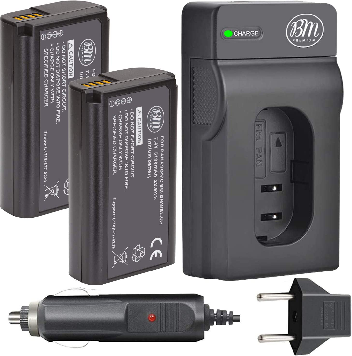 BM Finally popular brand Premium 2 Pack of DMW-BLJ31 safety for and Battery Charger Batteries