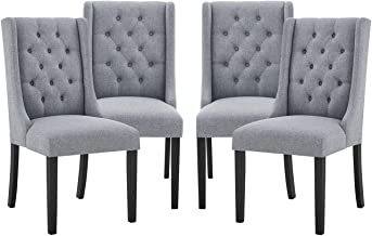 Dining Chairs for Dining Room Set of 4 Elegant Fabric Upholstered Parsons Chairs Button Tufted Living Accent Chairs with W...