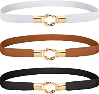 3 Pieces Women Skinny Waist Belt Elastic Thin Belt Waist Cinch Belt for Women Girls Accessories