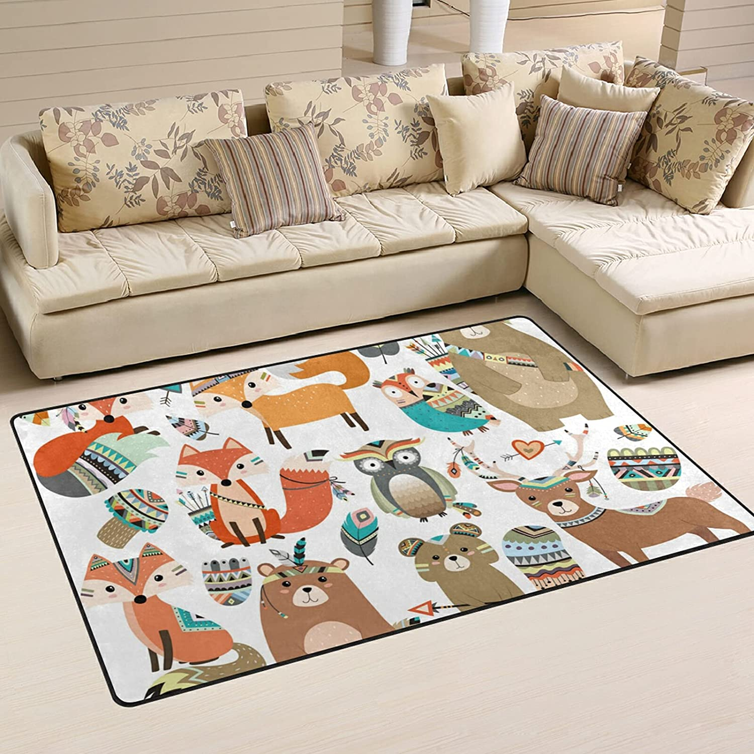 Tribal Forest Woodland Animals Luxury goods Large Soft Rugs Area Limited time cheap sale Play Nursery