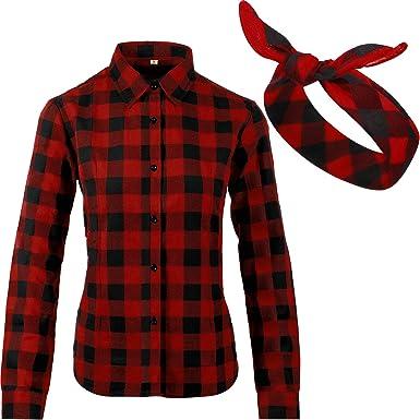 Camisa casual de franela de manga larga con botones y pañuelo