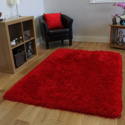 Luxurious Quality Super Soft Red Fluffy Cheap Shag Rug 4 x ...