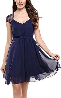 Zeagoo Damen Elegant Sommerkleid Chiffon Kleid Festliches Cocktail Party Kleid mit Spitze Kurz A Linie
