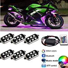 Kingshowstar 6PODS Motorcycle LED Accent Glow Neon Light - Multi-Color Ground Effect Atmosphere Lights with waterproof Bluetooth Controller for Harley Honda Kawasaki Suzuki Ducati Polaris KTM BMW