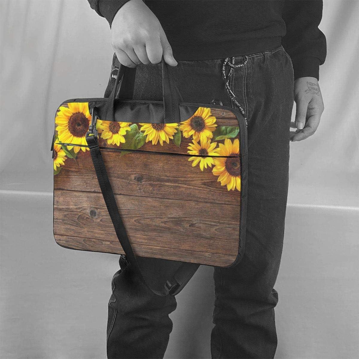 Wooden Board Sunflower Flower Laptop Bag,Shoulder Case Laptop Sleeve Bag Briefcase