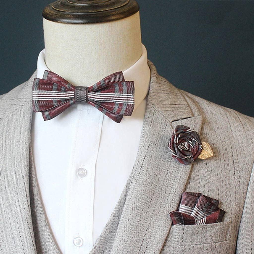 CDQYA Men's bow tie suit suit pocket square rose flower brooch wedding groom groomsmen bow tie Korean collar flower (Color : C)