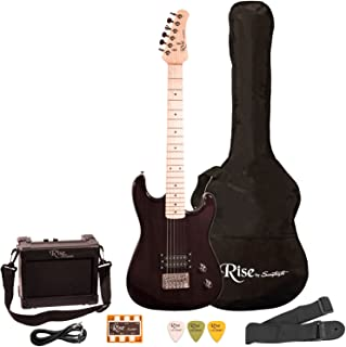 Rise by Sawtooth Electric Guitar Pack 3/4 Size, Right-Handed Black
