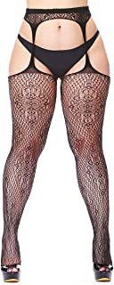 Womens fishnet tights Plus Size Lace Suspender Pantyhose Stocking