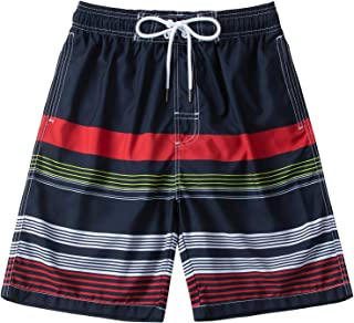 KAILUA SURF Mens Swim Trunks Long, Quick Dry Mens Boardshorts, 9 Inches Inseam Mens Bathing Suits with Mesh Lining (Stripe...