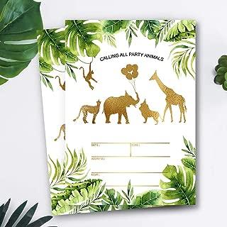 Mocsicka Safari Jungle Birthday Invitations Jungle Gold Aniamls Baby Shower Birthday Party Invite, 20 Fill in Invitations and Envelopes