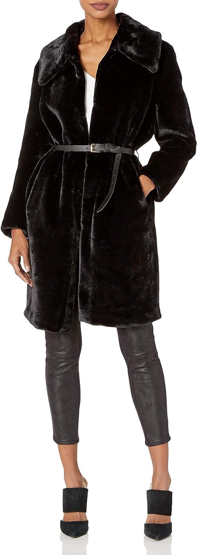 Elliatt Women's Apparel Women's Mariposa Faux Fur Long Collared Over Coat