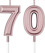 Frienda 70th Birthday Candles Cake Numeral Candles Happy Birthday Cake Candles Topper Decoration for Birthday Wedding Anniversary Celebration Supplies (Rose Gold)
