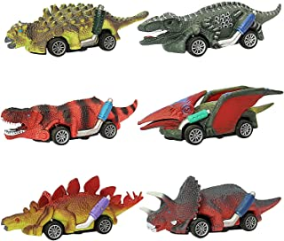 HEPRISE Mini Dinosaurs Toy Pull Back Car - 6 Different Types Dino Cars for Kids Boys Girls 1 2 3 4 5 6 Year Old Great Gift...
