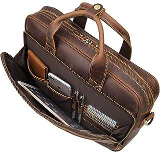 کیف مردانه کیف دستی مردانه چرمی Augus Leather Travel کیف دستی شانه لپ تاپ 17 اینچی