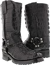 El Presidente - Men's Black Full Crocodile Tail Leather Biker Motorcycle Boots 12 D(M) US