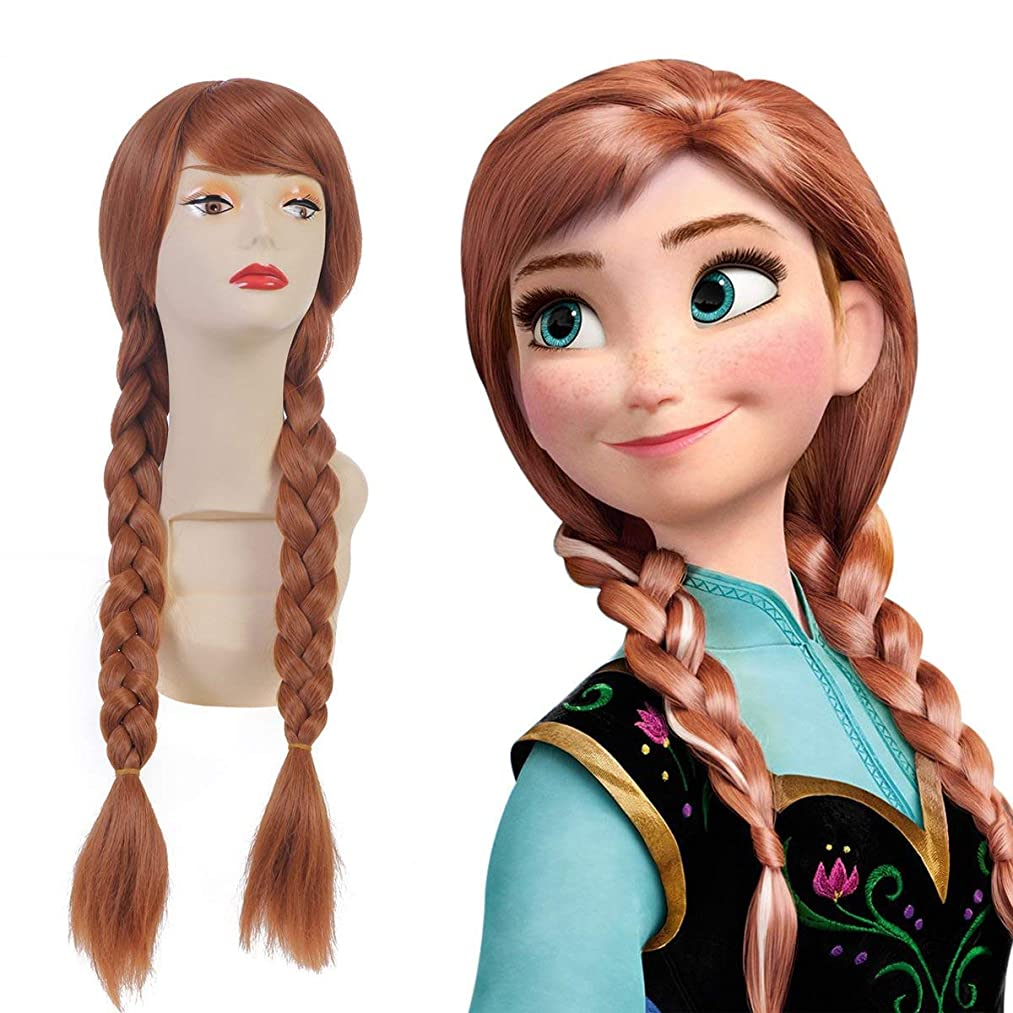SARLA Suitable For Frozen Anna Princess Cosplay Wig Snow Queen For Child Synthetic Movie Long Brown Dual Tail Costumes Party Halloween Braided Hair Wigs (Anna#Child)