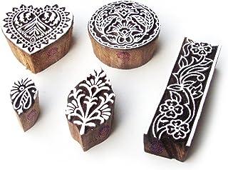 طوابع طباعة خشبية دائرية وقلب فنية (مجموعة من 5)