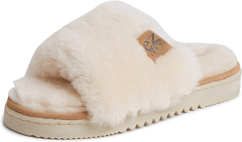 EZ Feet Women's Indoor Outdoor Genuine Shearling Breathable Slip