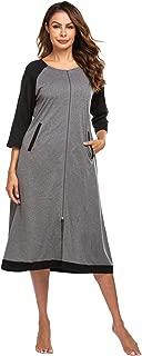 Zip Front Robe Zipper Housecoat Loungewear Long Nightgowns with Pockets for Women