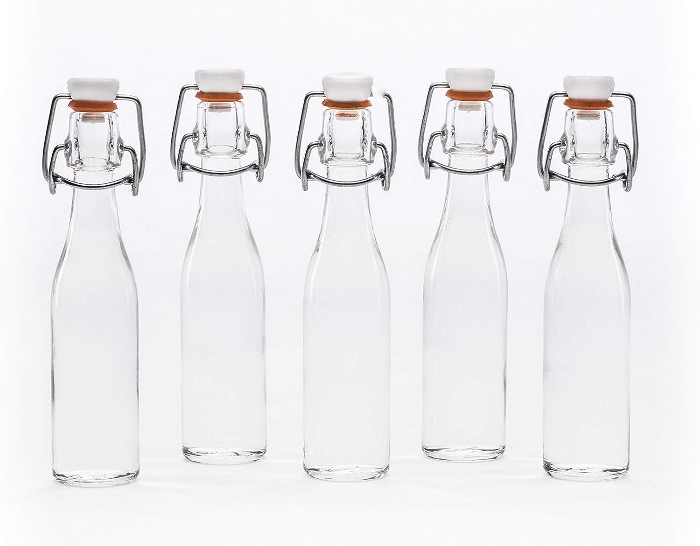 casavetro Clear Swing Top Botellas de Vidrio vacías 40 ml - Tapón Superior Recargable Reutilizable - Sello de Goma hermético para elaboración casera ...