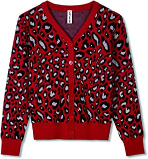 Kid Nation Girls Sweater Leopard Button Down Open Front Knitted Cardigan Christmas Sweater