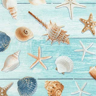 Timeless Treasures Beach Is My Happy Place Allover Seashells Aqua Fabric Fabric by the Yard