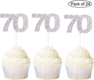 Newqueen 24 Pack Silver Glitter 70 Number Birthday Cupcake Toppers 70th Cupcake Picks Anniversary Party Cake Decors