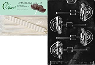 Cybrtrayd 45St50-M010 Rainbow Lolly Miscellaneous Chocolate Candy Mold with 50-Pack 4.5-Inch Lollipop Sticks