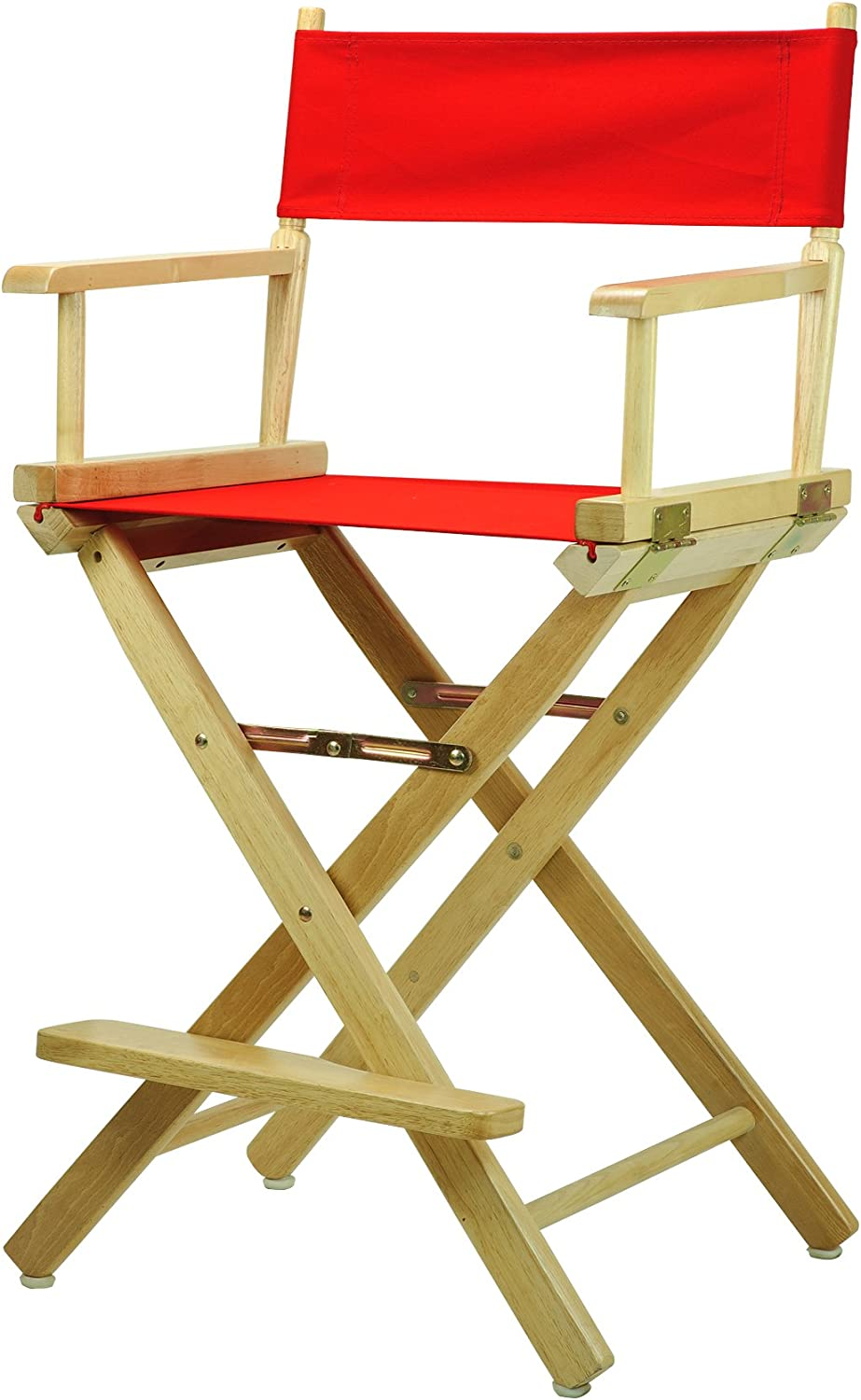 Casual Home 24-Inch Director Chair Natural Frame, Red Canvas