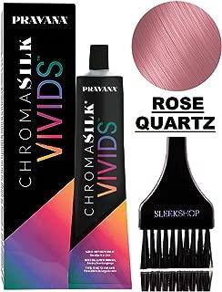 Pravana ChromaSilk VIVIDS CRYSTALS Hair Color Shades with Silk & Keratin Amino Acids Dye (with Sleek Brush) Haircolor Crystal (Rose Quartz)