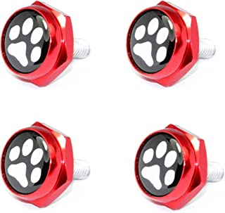Cutequeen paw Print Red License Plate Frame Bolts Screws Metal(Pack of 4)